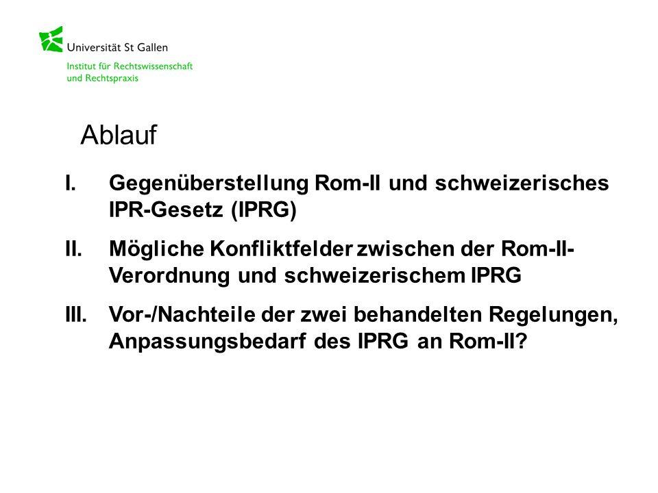 I.Gegenüberstellung Rom-II und schweizerisches IPR-Gesetz (IPRG) II.Mögliche Konfliktfelder zwischen der Rom-II- Verordnung und schweizerischem IPRG I