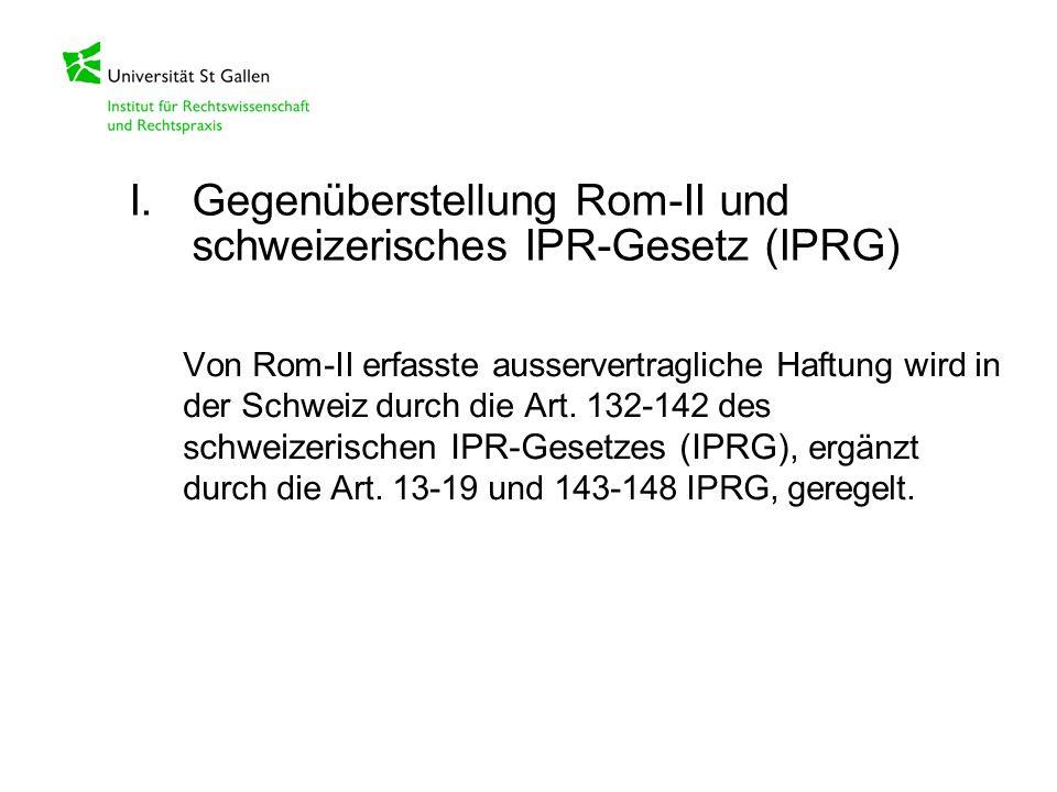 Von Rom-II erfasste ausservertragliche Haftung wird in der Schweiz durch die Art. 132-142 des s chweizerischen IPR-Gesetzes (IPRG), ergänzt durch die