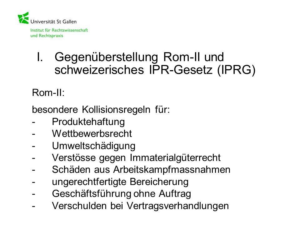 Rom-II: besondere Kollisionsregeln für: -Produktehaftung -Wettbewerbsrecht -Umweltschädigung -Verstösse gegen Immaterialgüterrecht -Schäden aus Arbeit