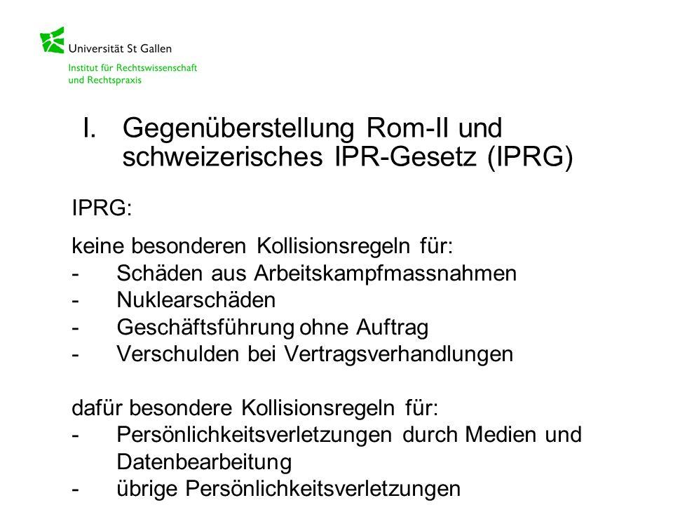 IPRG: keine besonderen Kollisionsregeln für: -Schäden aus Arbeitskampfmassnahmen -Nuklearschäden -Geschäftsführung ohne Auftrag -Verschulden bei Vertr