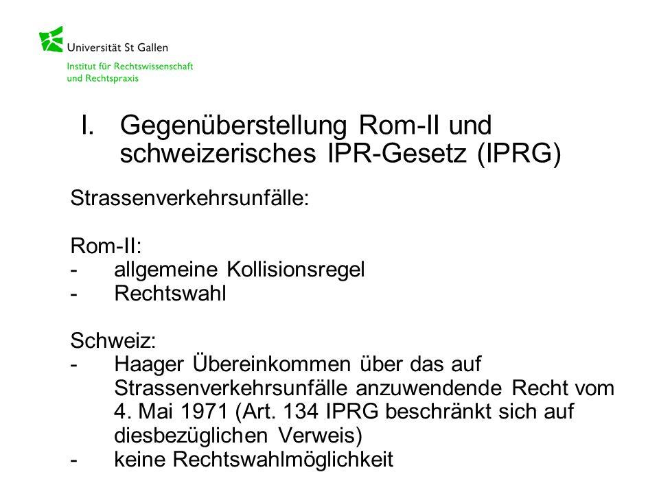 Strassenverkehrsunfälle: Rom-II: -allgemeine Kollisionsregel -Rechtswahl Schweiz: -Haager Übereinkommen über das auf Strassenverkehrsunfälle anzuwende