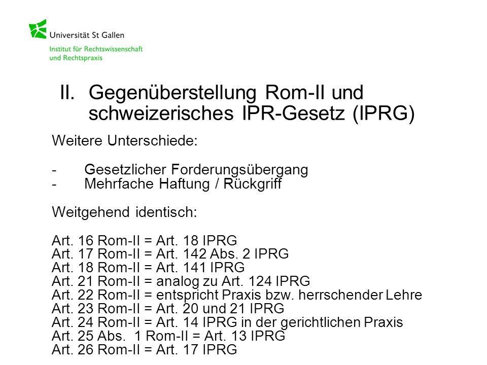 Weitere Unterschiede: -Gesetzlicher Forderungsübergang -Mehrfache Haftung / Rückgriff Weitgehend identisch: Art. 16 Rom-II = Art. 18 IPRG Art. 17 Rom-