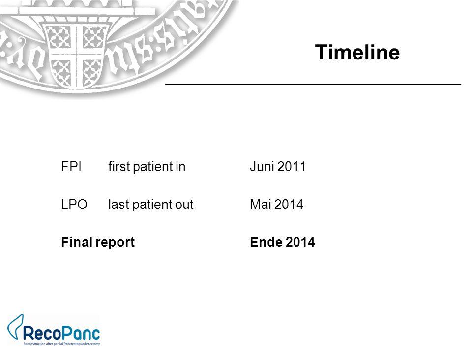 FPIfirst patient inJuni 2011 LPOlast patient outMai 2014 Final reportEnde 2014 Timeline