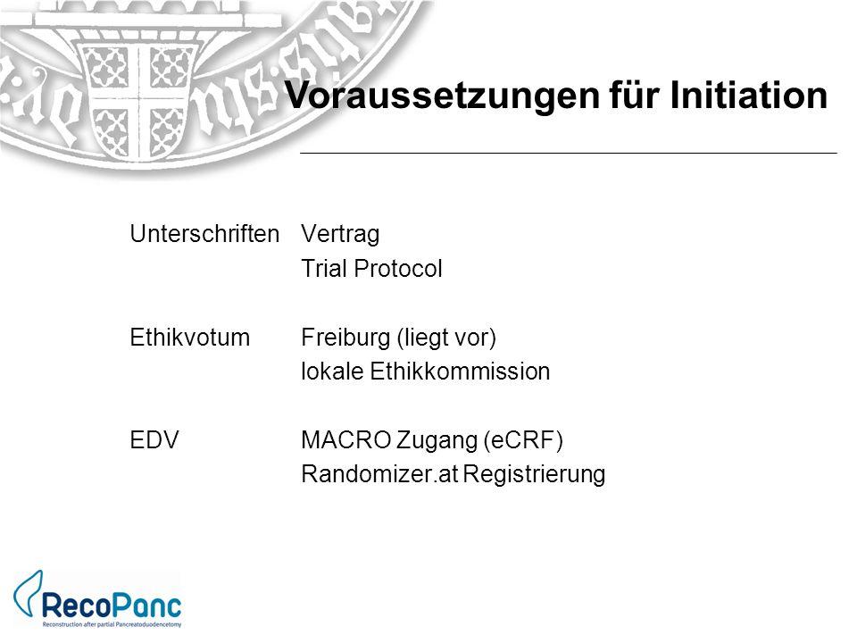 Unterschriften Vertrag Trial Protocol Ethikvotum Freiburg (liegt vor) lokale Ethikkommission EDVMACRO Zugang (eCRF) Randomizer.at Registrierung Voraus