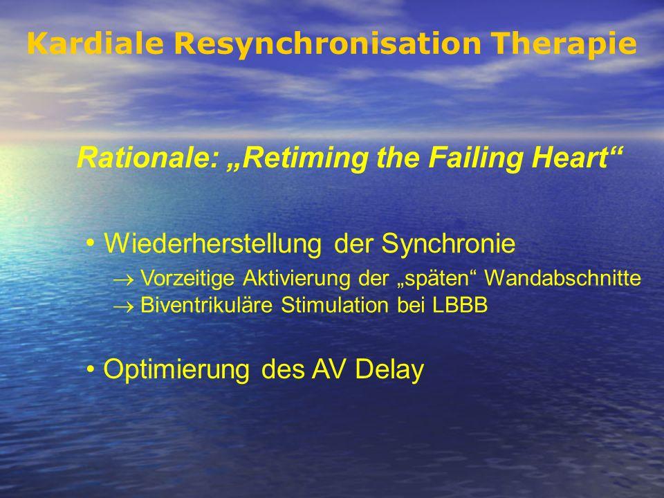 Rationale: Retiming the Failing Heart Kardiale Resynchronisation Therapie Wiederherstellung der Synchronie Optimierung des AV Delay Vorzeitige Aktivie
