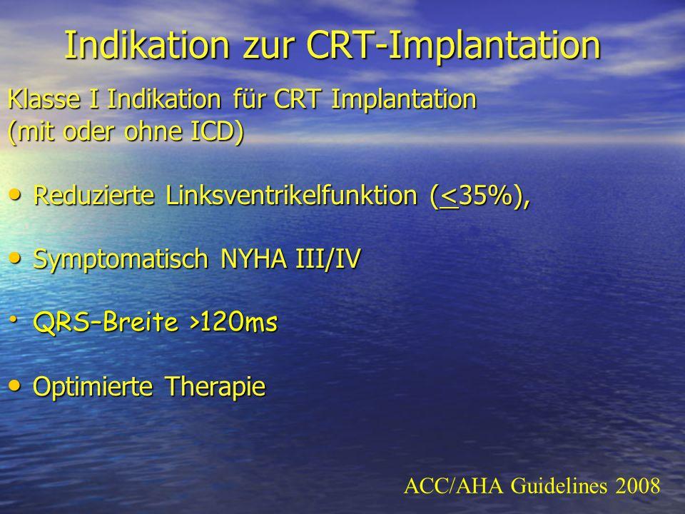 Indikation zur CRT-Implantation Klasse I Indikation für CRT Implantation (mit oder ohne ICD) Reduzierte Linksventrikelfunktion (<35%), Reduzierte Link