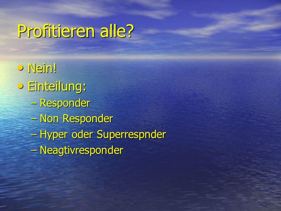 Profitieren alle? Nein! Nein! Einteilung: Einteilung: –Responder –Non Responder –Hyper oder Superrespnder –Neagtivresponder