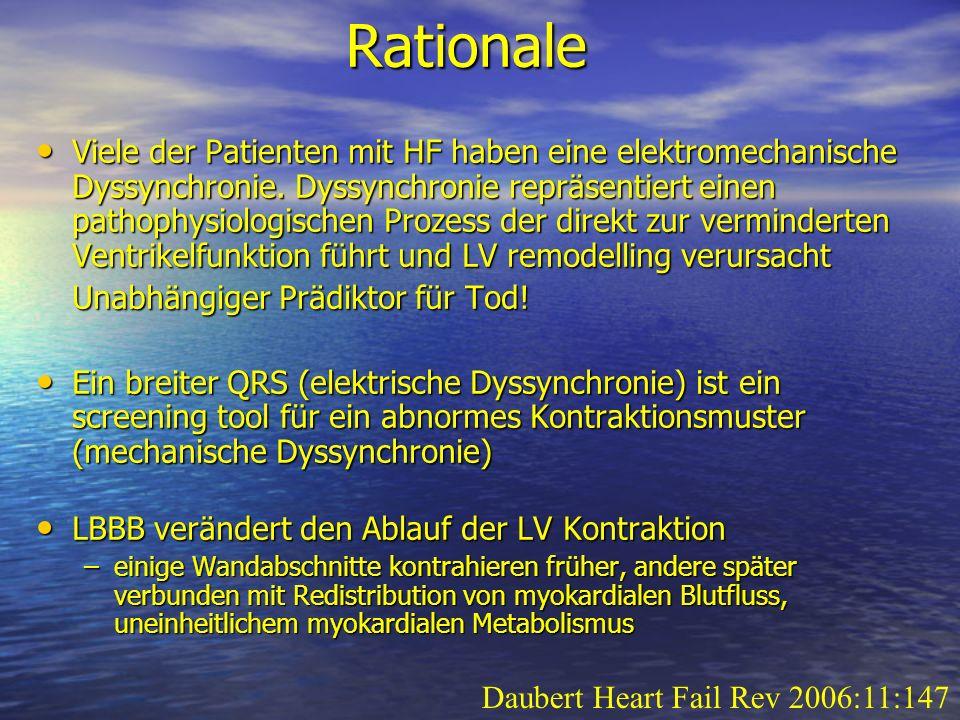 Rationale Viele der Patienten mit HF haben eine elektromechanische Dyssynchronie. Dyssynchronie repräsentiert einen pathophysiologischen Prozess der d