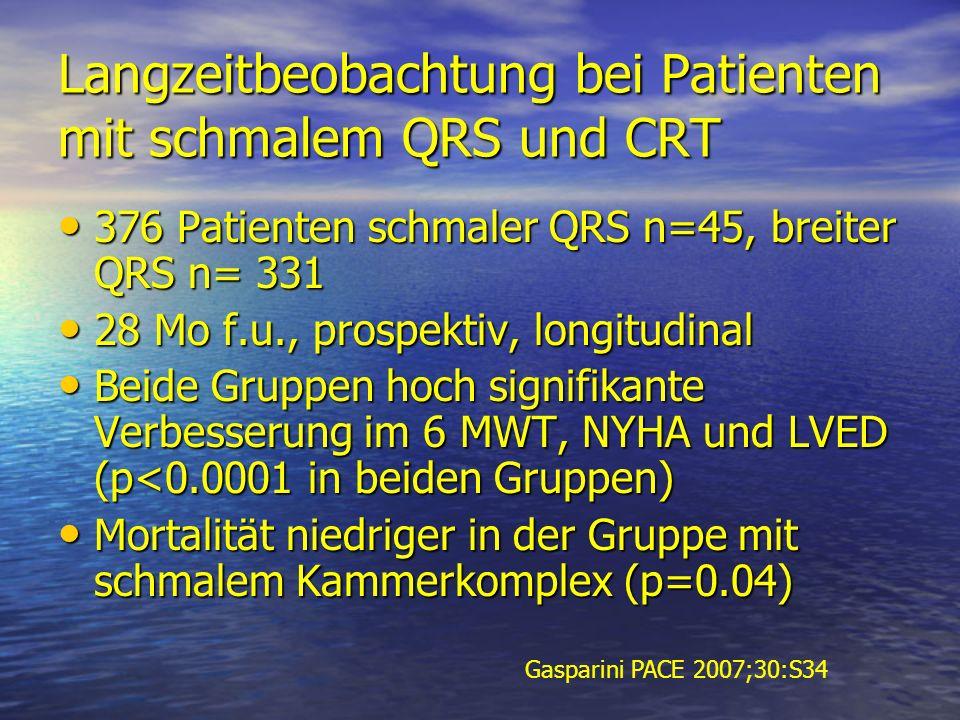 Langzeitbeobachtung bei Patienten mit schmalem QRS und CRT 376 Patienten schmaler QRS n=45, breiter QRS n= 331 376 Patienten schmaler QRS n=45, breite