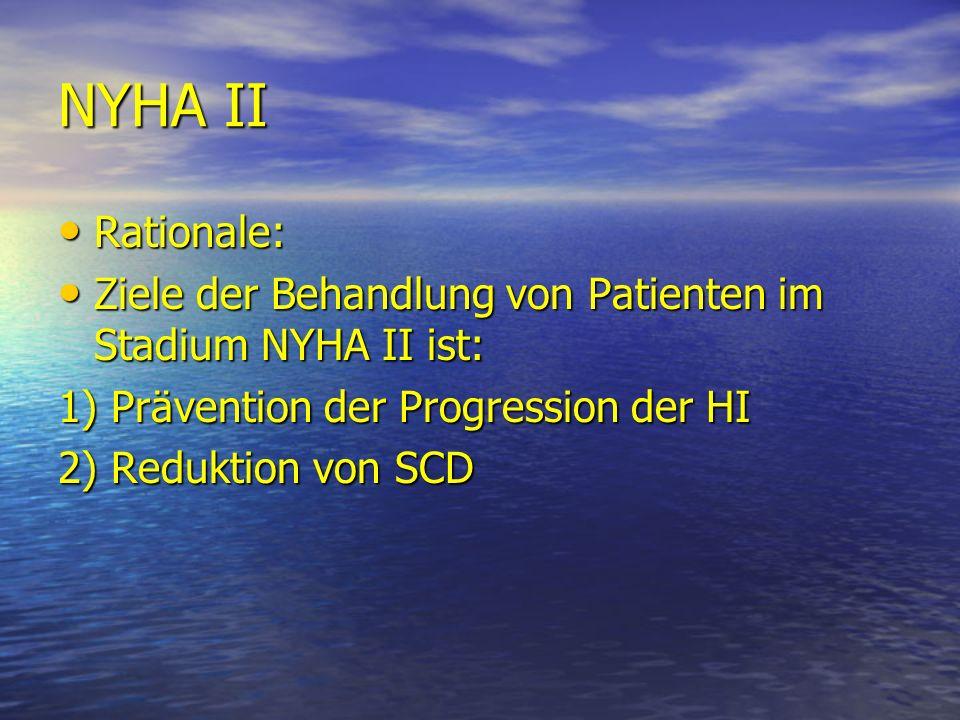 NYHA II Rationale: Rationale: Ziele der Behandlung von Patienten im Stadium NYHA II ist: Ziele der Behandlung von Patienten im Stadium NYHA II ist: 1)