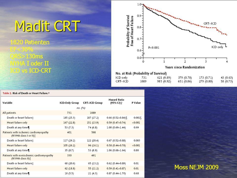 Madit CRT Moss NEJM 2009 1820 Patienten EF 130ms NYHA I oder II ICD vs ICD-CRT