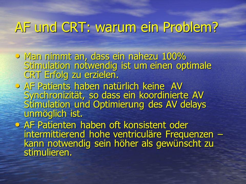 AF und CRT: warum ein Problem? Man nimmt an, dass ein nahezu 100% Stimulation notwendig ist um einen optimale CRT Erfolg zu erzielen. Man nimmt an, da