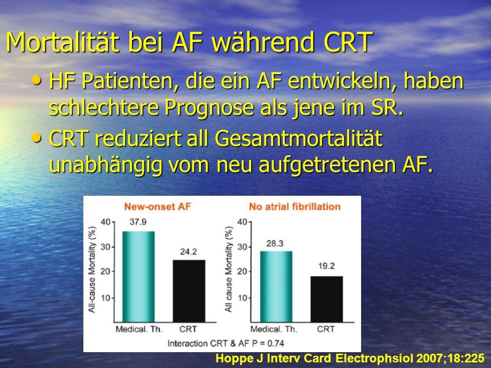 Mortalität bei AF während CRT HF Patienten, die ein AF entwickeln, haben schlechtere Prognose als jene im SR. HF Patienten, die ein AF entwickeln, hab