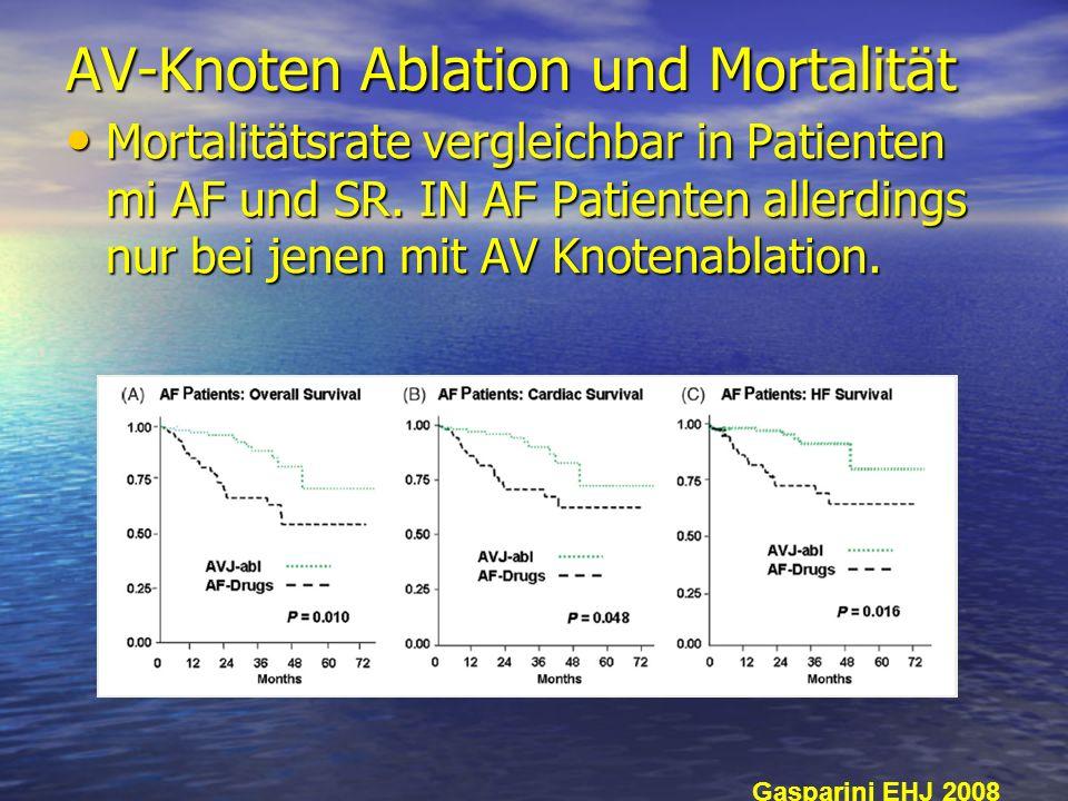 AV-Knoten Ablation und Mortalität Mortalitätsrate vergleichbar in Patienten mi AF und SR. IN AF Patienten allerdings nur bei jenen mit AV Knotenablati