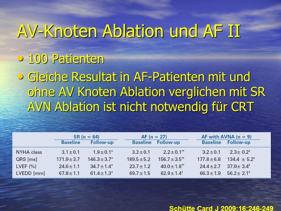AV-Knoten Ablation und AF II 100 Patienten 100 Patienten Gleiche Resultat in AF-Patienten mit und ohne AV Knoten Ablation verglichen mit SR AVN Ablati