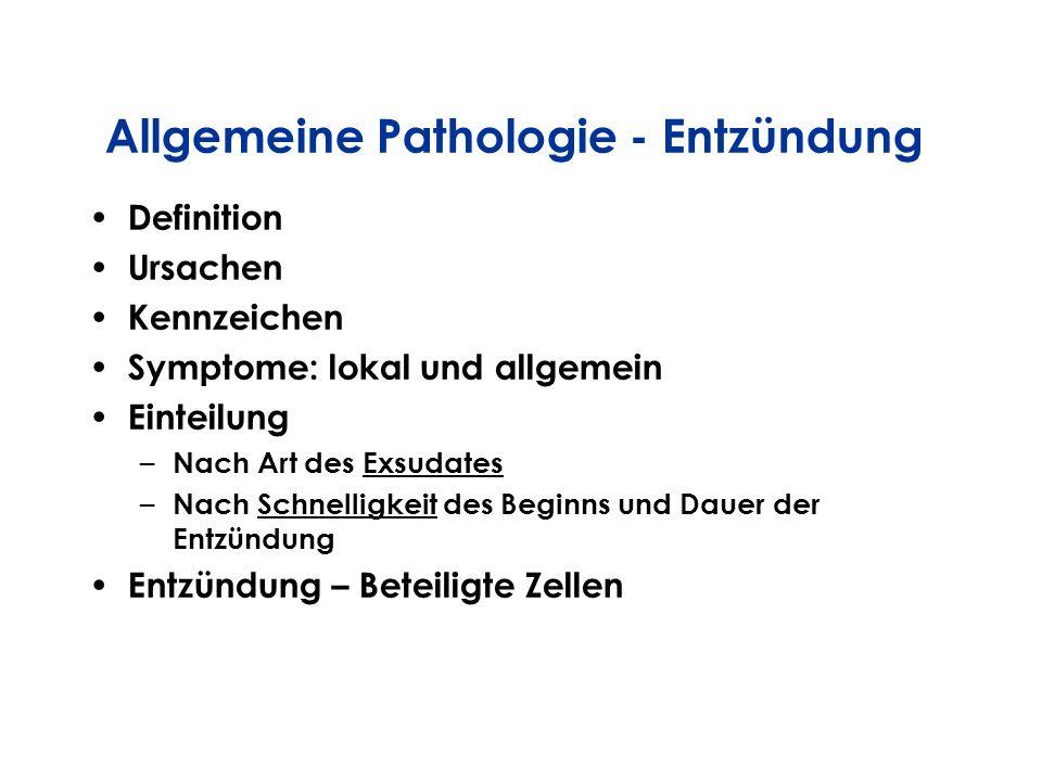 Definition Ursachen Kennzeichen Symptome: lokal und allgemein Einteilung – Nach Art des Exsudates – Nach Schnelligkeit des Beginns und Dauer der Entzü