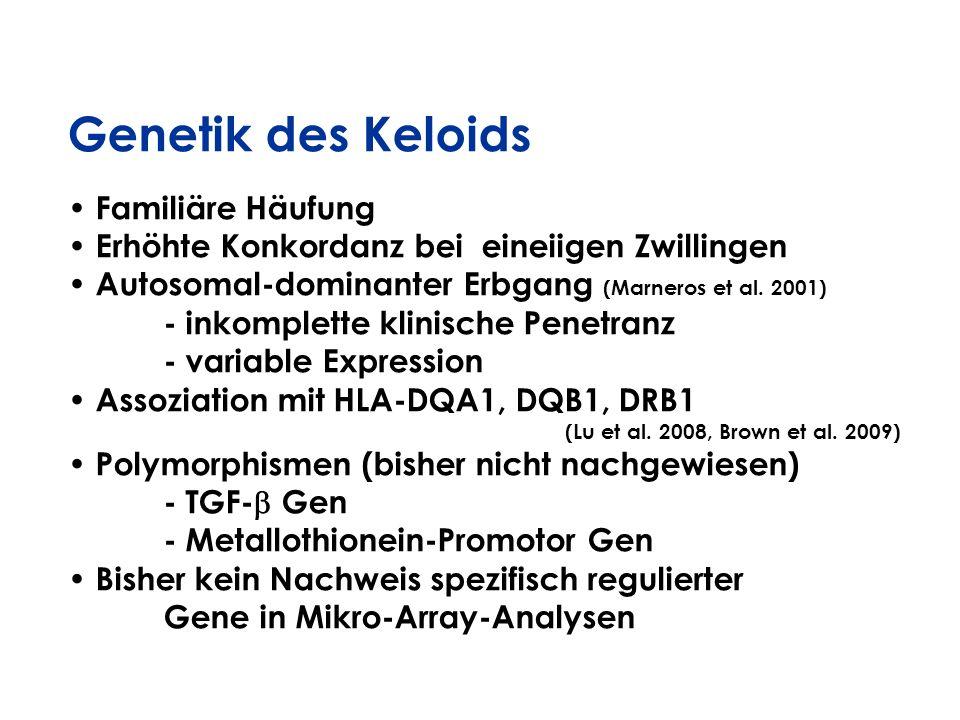 Genetik des Keloids Familiäre Häufung Erhöhte Konkordanz bei eineiigen Zwillingen Autosomal-dominanter Erbgang (Marneros et al. 2001) - inkomplette kl