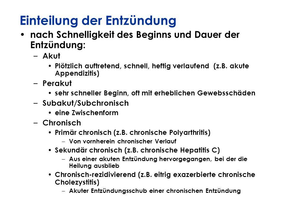 Einteilung der Entzündung nach Schnelligkeit des Beginns und Dauer der Entzündung: – Akut Plötzlich auftretend, schnell, heftig verlaufend (z.B. akute