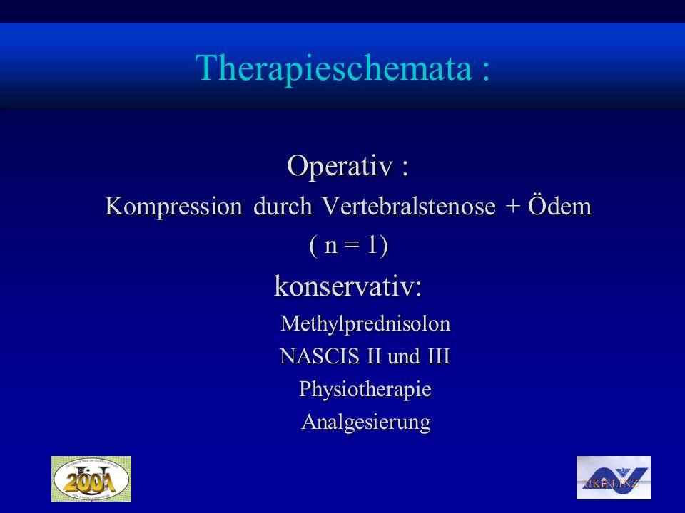 UKH LINZ Therapieschemata : Operativ : Kompression durch Vertebralstenose + Ödem ( n = 1) konservativ:Methylprednisolon NASCIS II und III Physiotherap