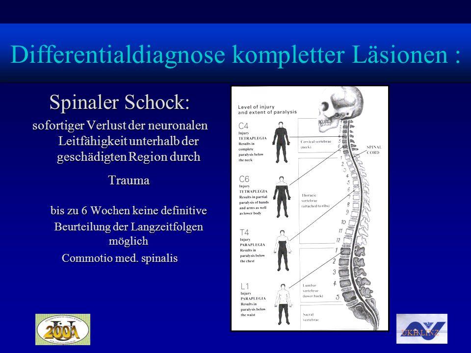 UKH LINZ Differentialdiagnose kompletter Läsionen : Spinaler Schock: sofortiger Verlust der neuronalen Leitfähigkeit unterhalb der geschädigten Region