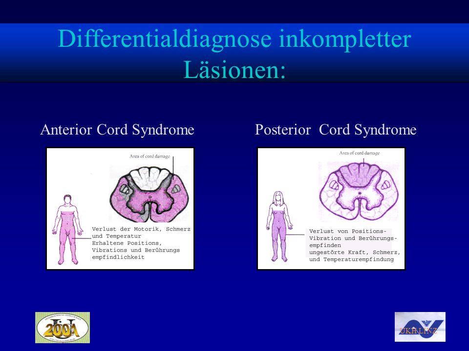 UKH LINZ Differentialdiagnose inkompletter Läsionen: Anterior Cord SyndromePosterior Cord Syndrome