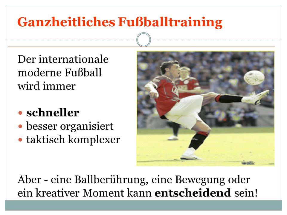 Ganzheitliches Fußballtraining Der internationale moderne Fußball wird immer schneller besser organisiert taktisch komplexer Aber - eine Ballberührung