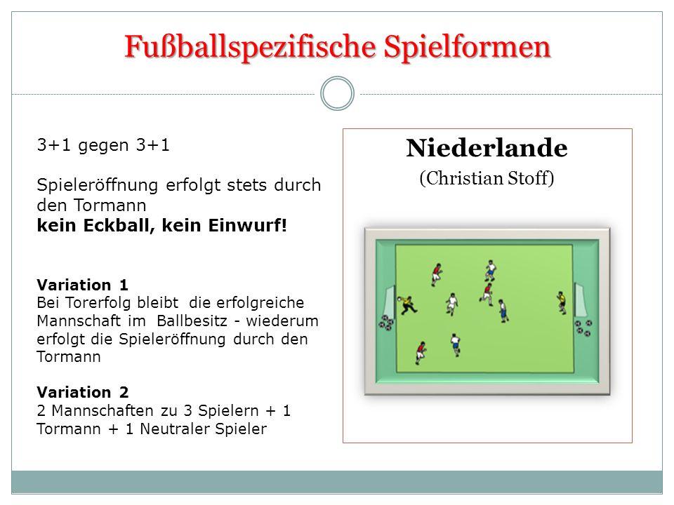 Fußballspezifische Spielformen Niederlande (Christian Stoff) 3+1 gegen 3+1 Spieleröffnung erfolgt stets durch den Tormann kein Eckball, kein Einwurf!