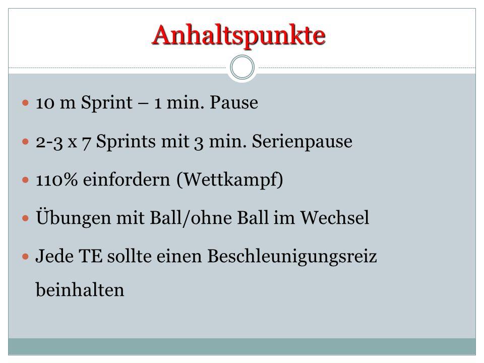 Anhaltspunkte 10 m Sprint – 1 min. Pause 2-3 x 7 Sprints mit 3 min. Serienpause 110% einfordern (Wettkampf) Übungen mit Ball/ohne Ball im Wechsel Jede