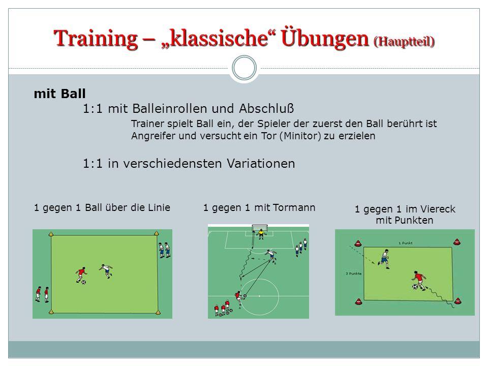 Training – klassische Übungen (Hauptteil) mit Ball 1:1 mit Balleinrollen und Abschluß Trainer spielt Ball ein, der Spieler der zuerst den Ball berührt