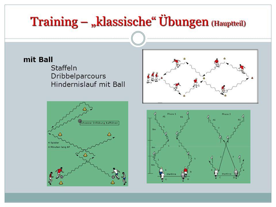 Training – klassische Übungen (Hauptteil) mit Ball Staffeln Dribbelparcours Hindernislauf mit Ball