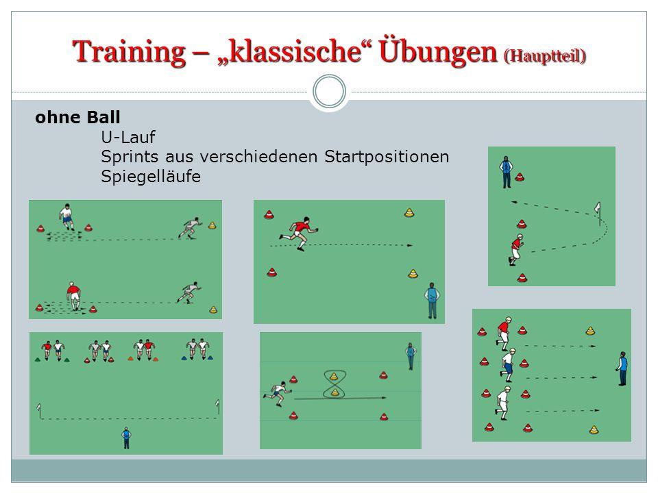 Training – klassische Übungen (Hauptteil) ohne Ball U-Lauf Sprints aus verschiedenen Startpositionen Spiegelläufe