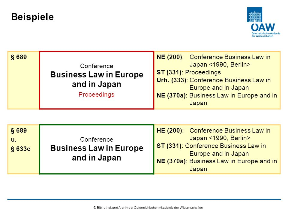 © Bibliothek und Archiv der Österreichischen Akademie der Wissenschaften Beispiele § 689 Conference Business Law in Europe and in Japan Proceedings NE (200):Conference Business Law in Japan ST (331): Proceedings Urh.