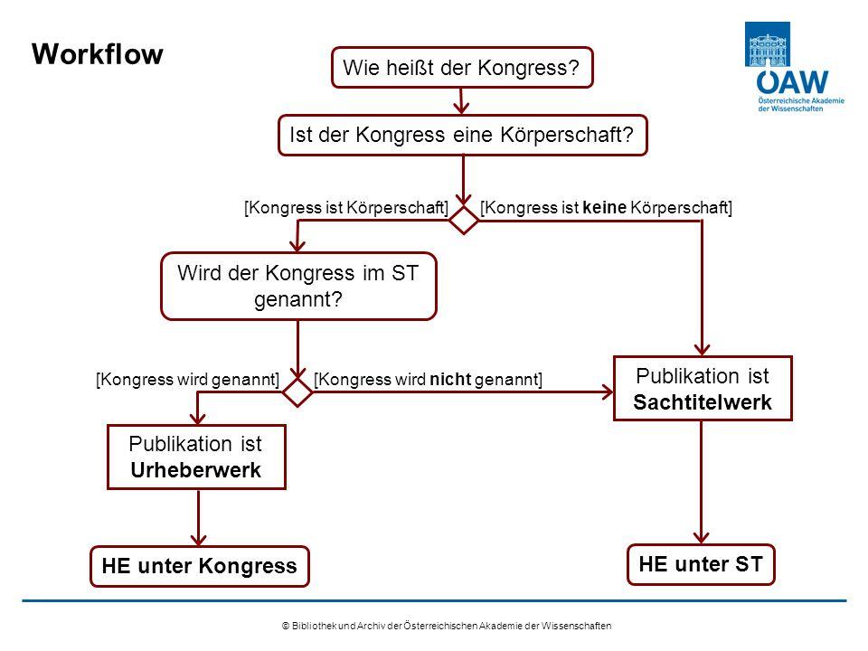 © Bibliothek und Archiv der Österreichischen Akademie der Wissenschaften Workflow Wie heißt der Kongress.