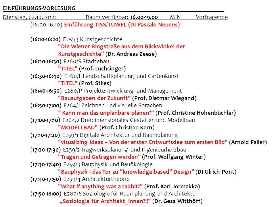 Dienstag, 02.10.2012: Raum verfügbar: 16.00-19.00 MINVortragende (16.00-16.10) Einführung TISS/TUWEL (DI Pascale Neuens) (16:10-16:20) E251/3 Kunstges