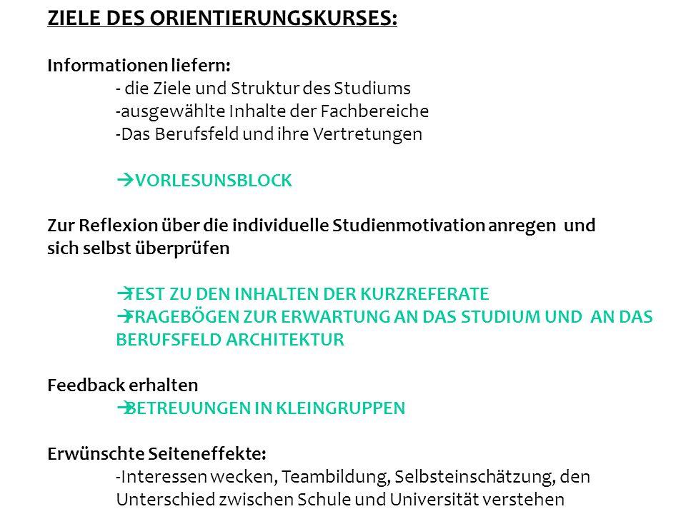 ZIELE DES ORIENTIERUNGSKURSES: Informationen liefern: - die Ziele und Struktur des Studiums -ausgewählte Inhalte der Fachbereiche -Das Berufsfeld und