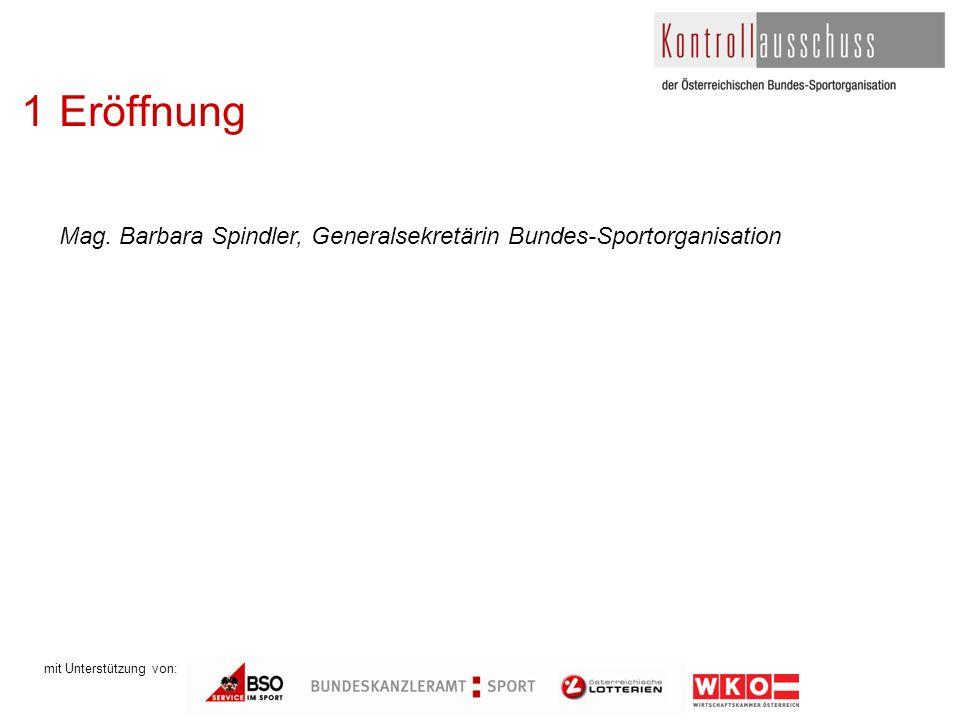 1Eröffnung Mag. Barbara Spindler, Generalsekretärin Bundes-Sportorganisation