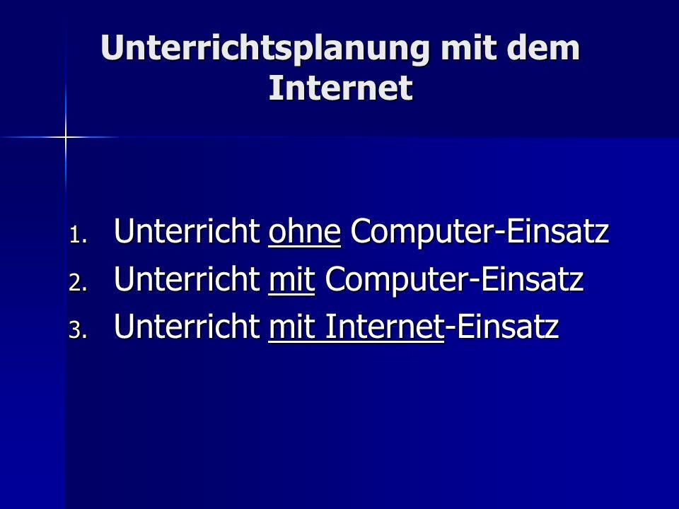 Unterrichtsplanung mit dem Internet 1. Unterricht ohne Computer-Einsatz 2. Unterricht mit Computer-Einsatz 3. Unterricht mit Internet-Einsatz