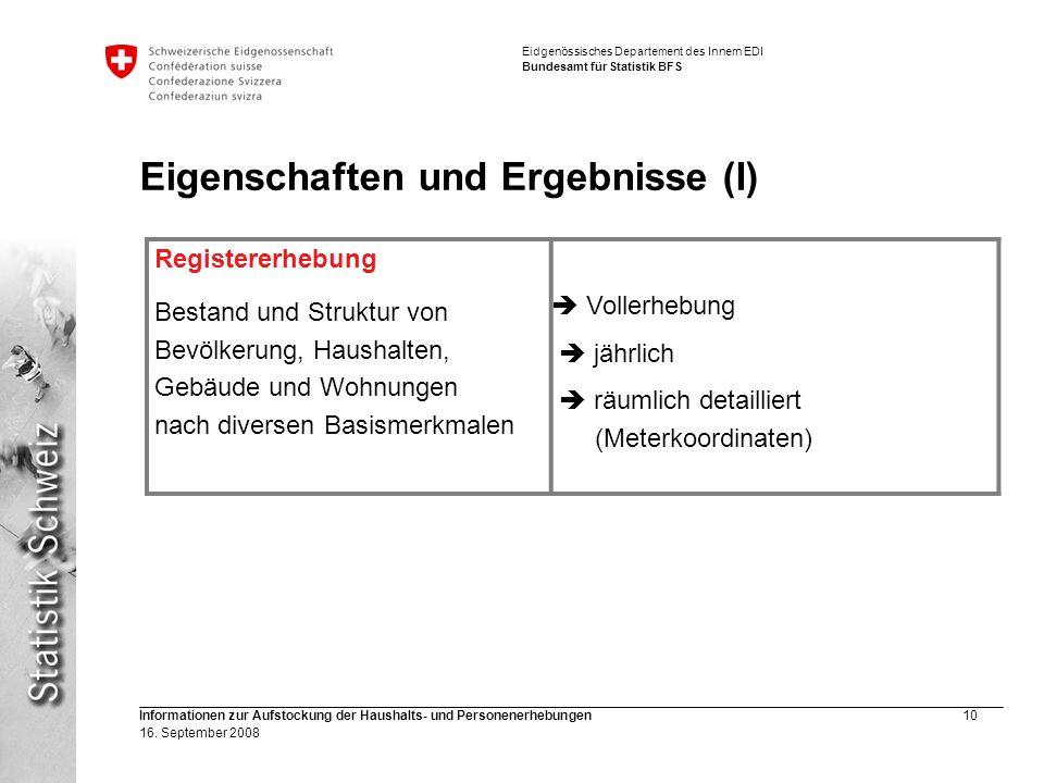 Eidgenössisches Departement des Innern EDI Bundesamt für Statistik BFS Informationen zur Aufstockung der Haushalts- und Personenerhebungen10 16. Septe