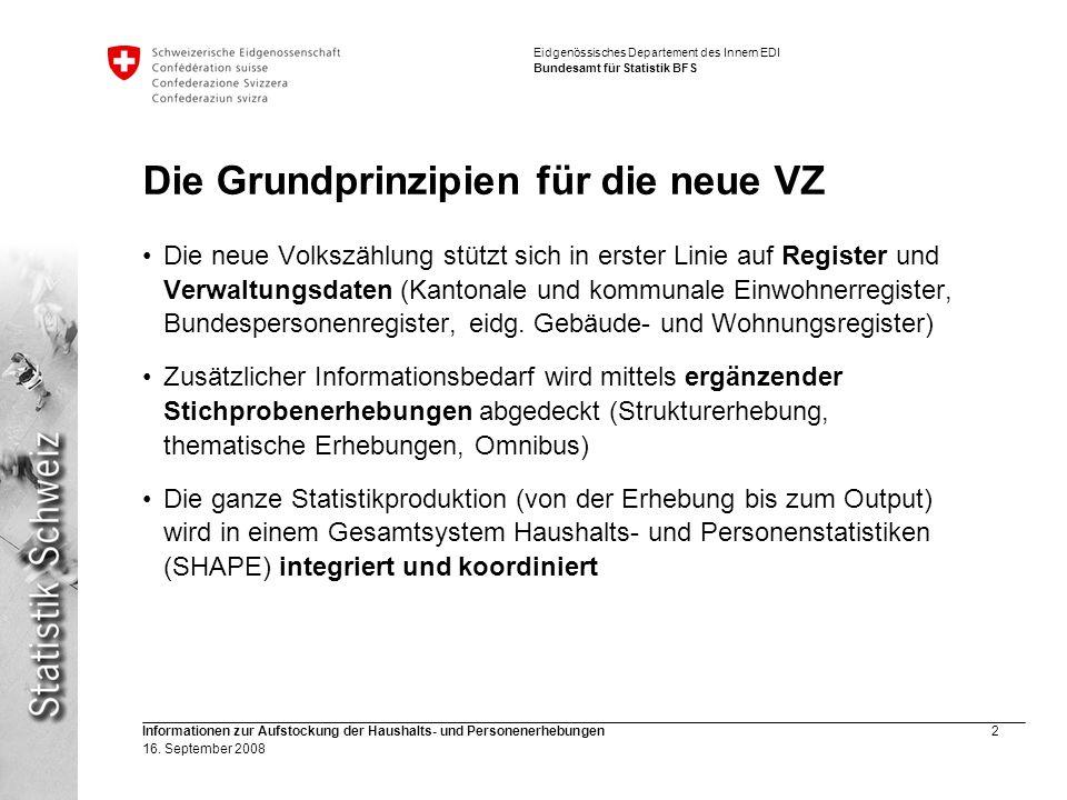 Eidgenössisches Departement des Innern EDI Bundesamt für Statistik BFS Informationen zur Aufstockung der Haushalts- und Personenerhebungen2 16. Septem