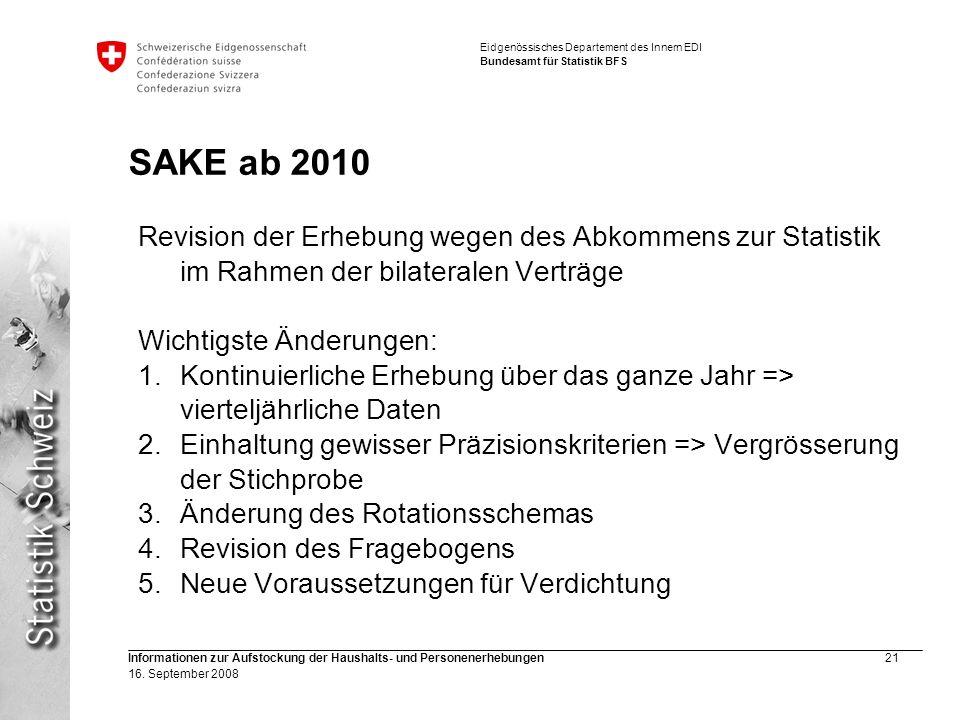 Eidgenössisches Departement des Innern EDI Bundesamt für Statistik BFS Informationen zur Aufstockung der Haushalts- und Personenerhebungen21 16. Septe
