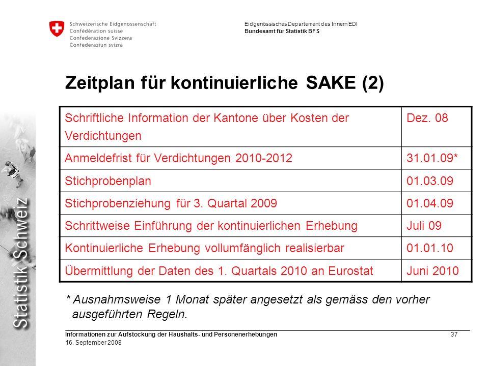 Eidgenössisches Departement des Innern EDI Bundesamt für Statistik BFS Informationen zur Aufstockung der Haushalts- und Personenerhebungen37 16. Septe