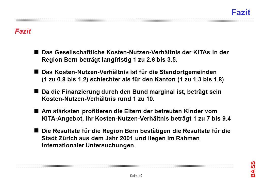 Seite 10 Fazit n Das Gesellschaftliche Kosten-Nutzen-Verhältnis der KITAs in der Region Bern beträgt langfristig 1 zu 2.6 bis 3.5. n Das Kosten-Nutzen