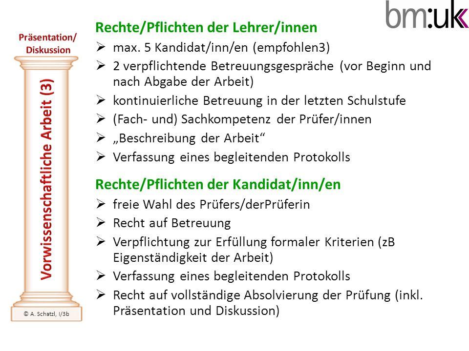 Rechte/Pflichten der Lehrer/innen max. 5 Kandidat/inn/en (empfohlen3) 2 verpflichtende Betreuungsgespräche (vor Beginn und nach Abgabe der Arbeit) kon