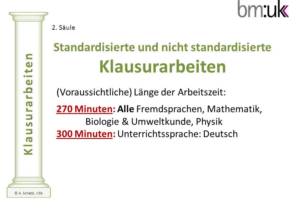 2. Säule Standardisierte und nicht standardisierte Klausurarbeiten (Voraussichtliche) Länge der Arbeitszeit: 270 Minuten: Alle Fremdsprachen, Mathemat