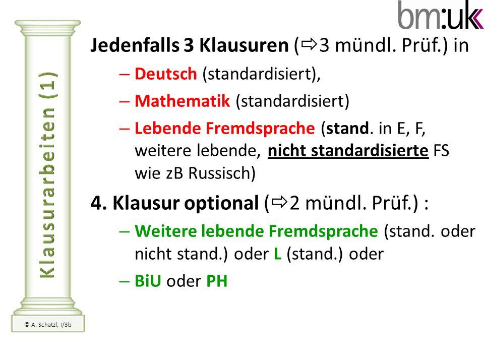 Jedenfalls 3 Klausuren ( 3 mündl. Prüf.) in – Deutsch (standardisiert), – Mathematik (standardisiert) – Lebende Fremdsprache (stand. in E, F, weitere