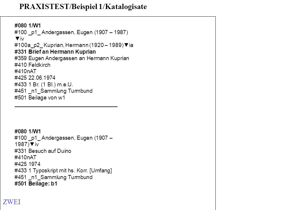 #080 1/W1 #100 _p1_ Andergassen, Eugen (1907 – 1987) iv #100a_p2_ Kuprian, Hermann (1920 – 1989)ia #331 Brief an Hermann Kuprian #359 Eugen Andergasse