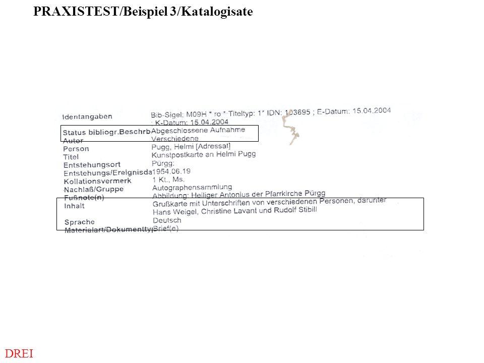 DREI PRAXISTEST/Beispiel 3/Katalogisate