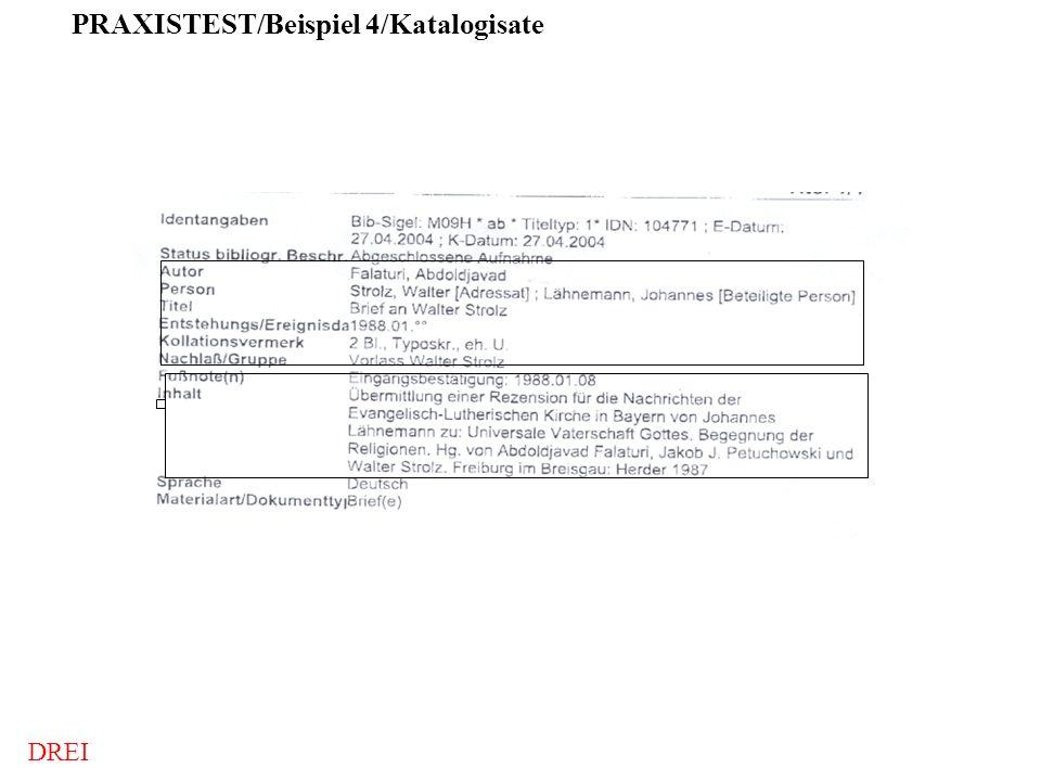 DREI PRAXISTEST/Beispiel 4/Katalogisate