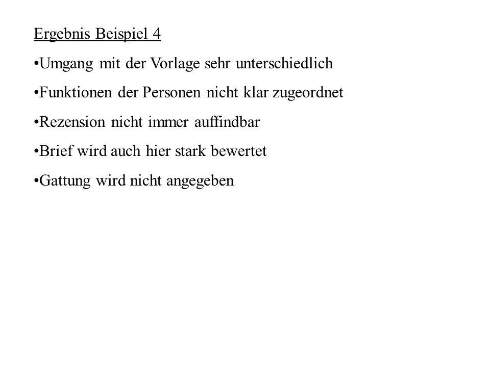 Ergebnis Beispiel 4 Umgang mit der Vorlage sehr unterschiedlich Funktionen der Personen nicht klar zugeordnet Rezension nicht immer auffindbar Brief w