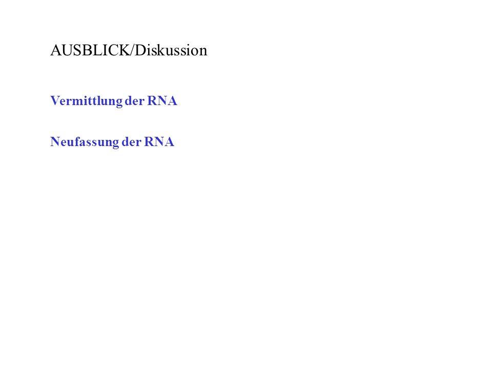 AUSBLICK/Diskussion Vermittlung der RNA Neufassung der RNA